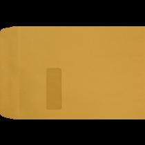 9 x 12 Open End Brown Kraft Imprint Window Envelopes