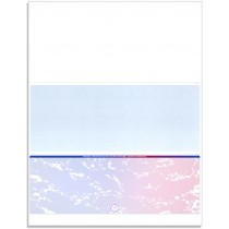 Blank Laser Bottom Check Paper, Blue/Red Prismatic
