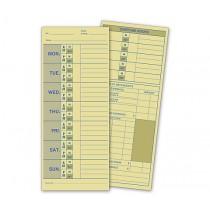 "Weekly Time Card, Manila Tag Stock, 3 1/2 x 8 1/2"""