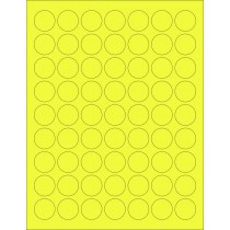 "8-1/2"" x 11"" Yellow Fluorescent 63 Labels per Sheet 1"" Round"