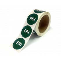 "2"" Inventory Control/Date 500 Permanent Labels  Green ""FRI"" Labels  3"" Core"