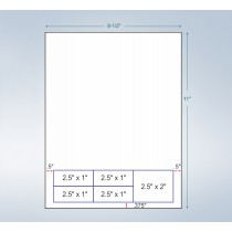 """Integrated Label Form, 5 Labels  2.5"""" x 1"""", 2.5"""" x 2"""" on the Bottom"""