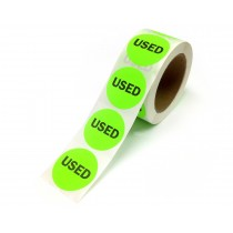 """2"""" Inventory Control/Date 500 Permanent Labels  Green """"Used"""" Labels  3"""" Core"""